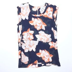 CAbi Navy & Orange Blossom Tiered Blouse S M 5030
